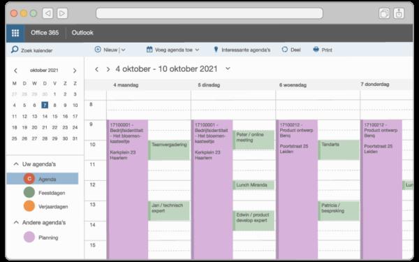 Outlook planning voorbeeld
